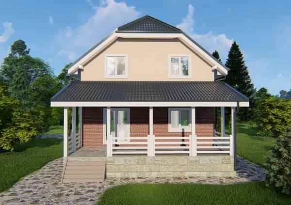 Вид на террасу дачного дома проект Яхрома
