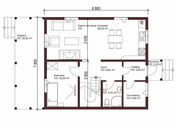 Первый этаж планировка дачного дома Яхрома