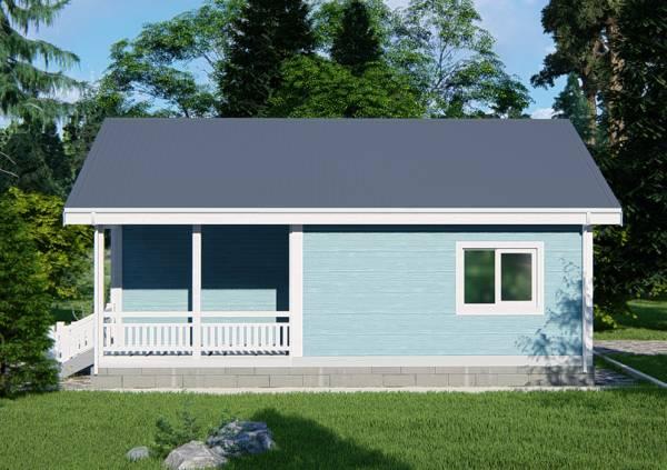 Вид сбоку на проект дачного дома Руза