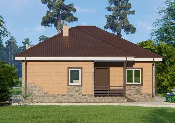 Вид на одноэтажный дачный дом проект Талдом