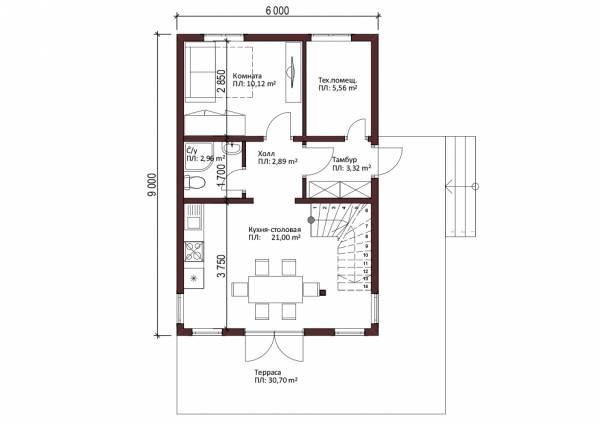 1-ый этаж дачного дома проект Купавна