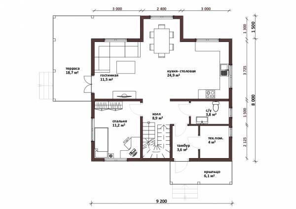 Планировка первого этажа коттедж Радонеж