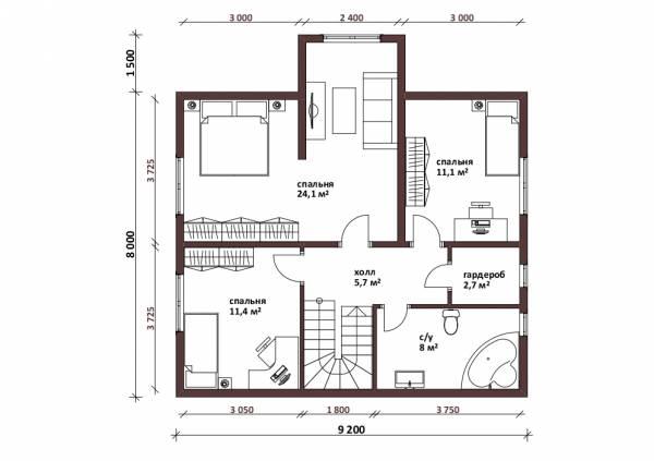 Планировка мансардного этажа коттедж Радонеж