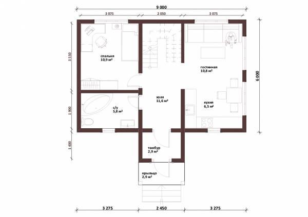 Планировка первого этажа дачного дома проект Красногорск