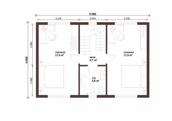 Планировка мансардного этажа дачного дома проект Красногорск строим.