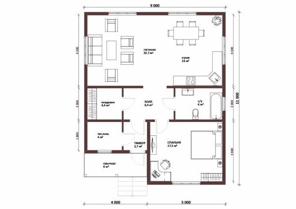 Планировка одноэтажного дома 9 на 11 метров проект Пересвет
