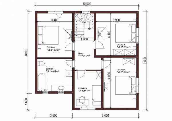 Планировка мансардного этажа проекта Котельники