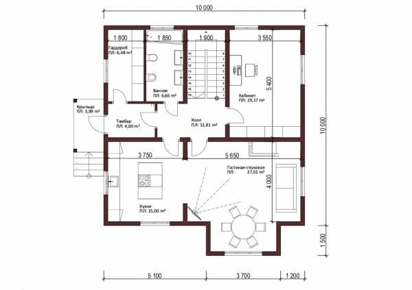 Планировка проекта двухэтажного коттеджа Смоленск - 1-ый этаж