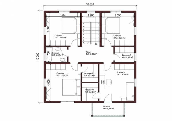 Планировка 2-го этажа двух этажного коттеджа Смоленск