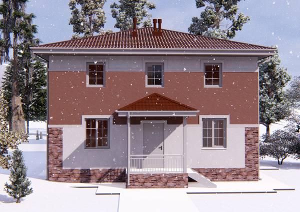 Вид на крыльцо двухэтажного коттеджа для постоянного проживания Смоленск