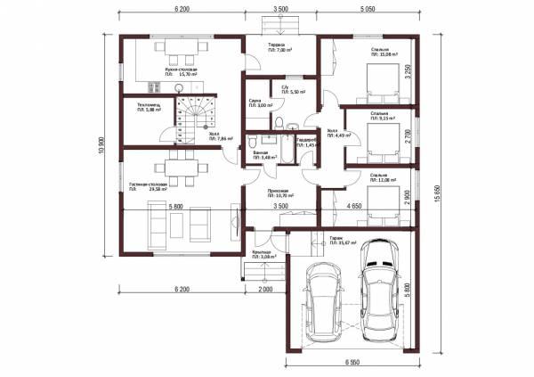 Планировка одноэтажного дома для постоянного проживания проект Московский.