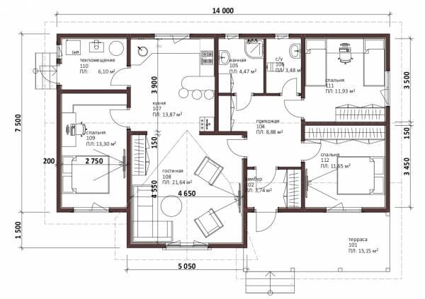 Планировка одноэтажного дачного дома проект Львовский