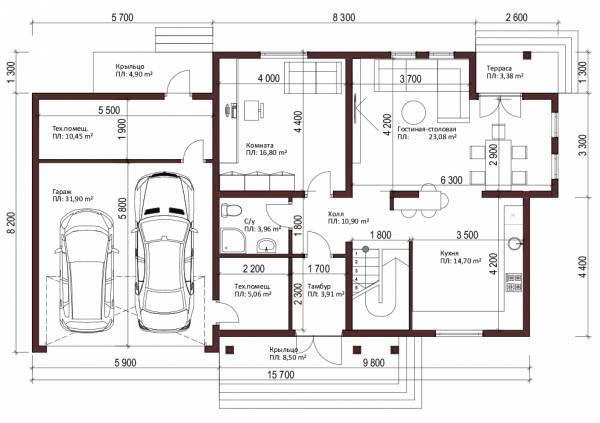 Планировка двухэтажного коттеджа Высоковск с гаражом