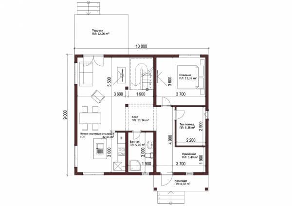 Планировка двухэтажного коттеджа первый этаж проект Егорьевск