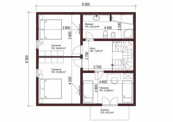 План мансардного этажа (2-го) в коттедже по проекту Звенигород