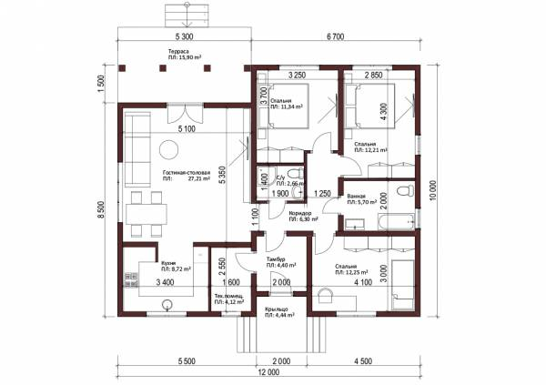 Планировка одноэтажного дачного дома проект Федюково