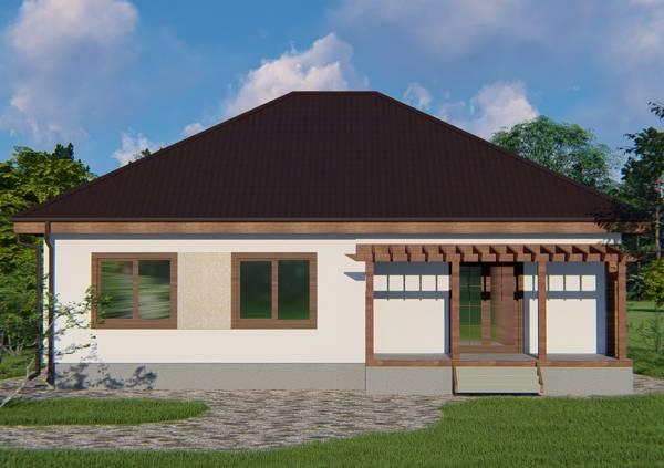 Вид с террасой проект Федюково одноэтажный дачный дом.