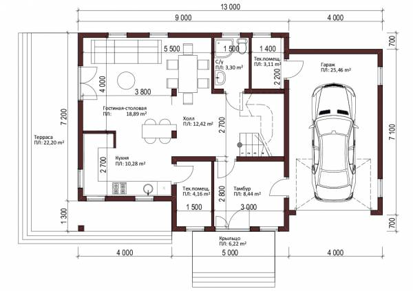 Планировка первого этажа проект Звенигород планировка с гаражом заказывается отдельно