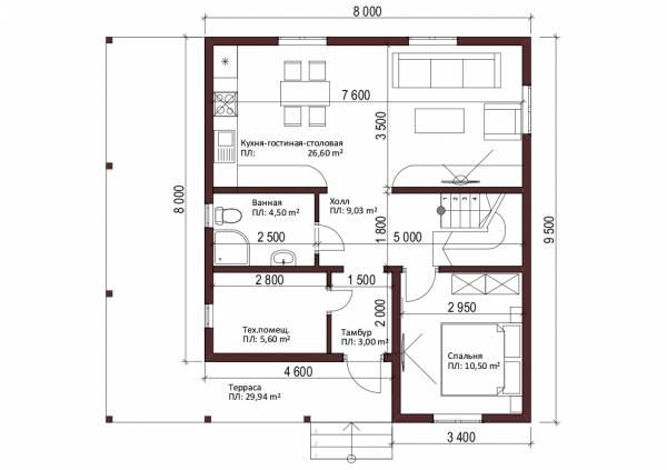Планировка первого этажа коттеджа по проекту Климовск
