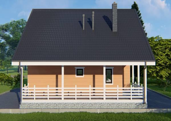 Вид на пристроенную террасу к коттеджу по проекту Климовск