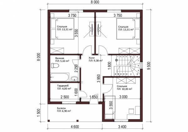 Планировка мансардного этажа двухэтажного коттеджа по проекту Климовск