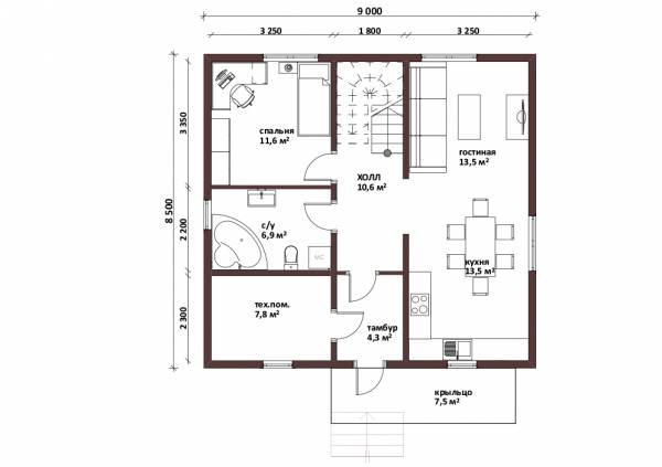 Планировка первого этажа коттеджа Давыдово.