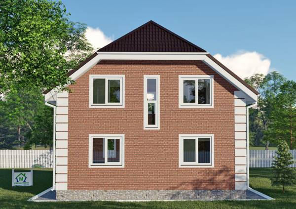 Задний фасад коттеджа с мансардным этажом проект Давыдово.