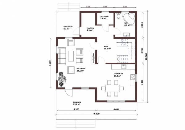 Планировка 1-го этажа двухэтажного коттеджа проект Дубки.