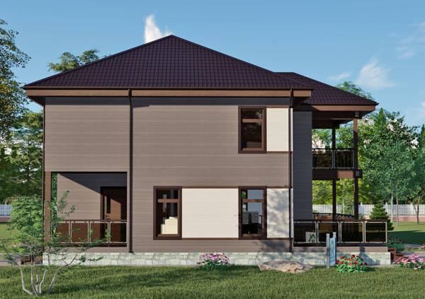 Вид на задний двор проекта двухэтажного коттеджа проект Дубки.