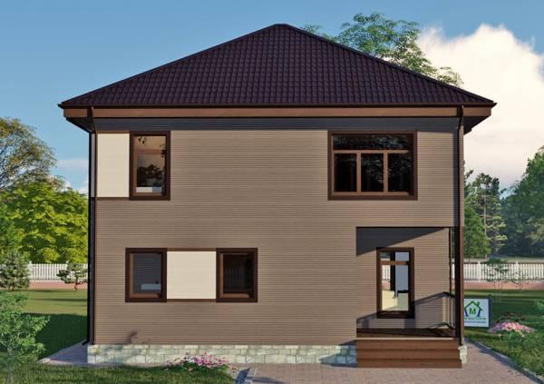 Фото двухэтажного коттеджа фасад проекта Дубки.