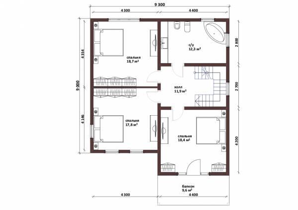 Планировка второго этажа коттеджа Дубки для постоянного проживания.