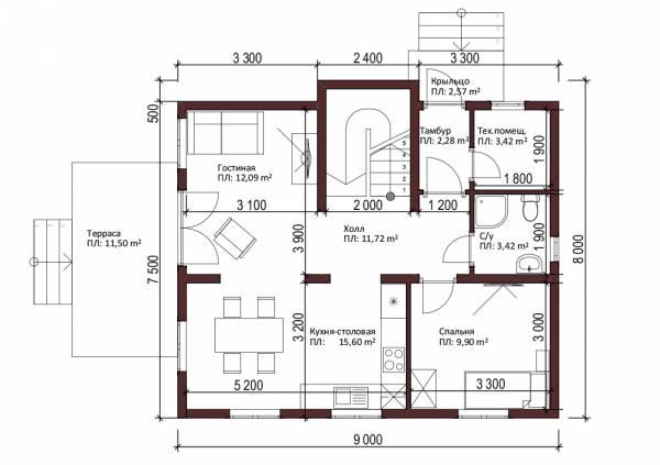 Планировка первого этажа проект Кратово.