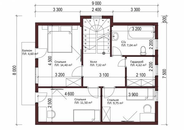 Планировка второго этажа проект Кратово.