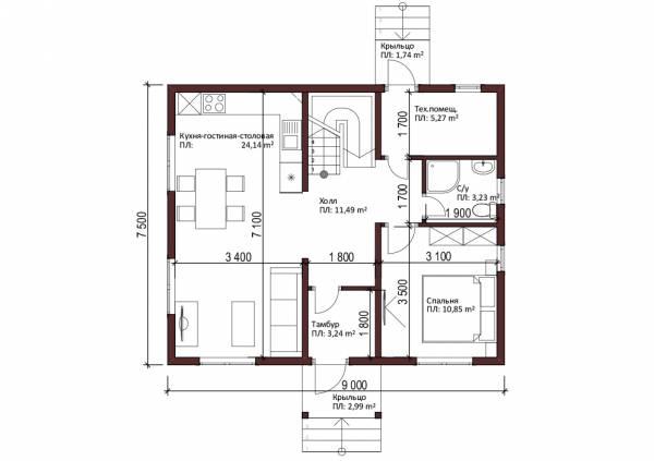Первый этаж дачного дома проект Перхушково