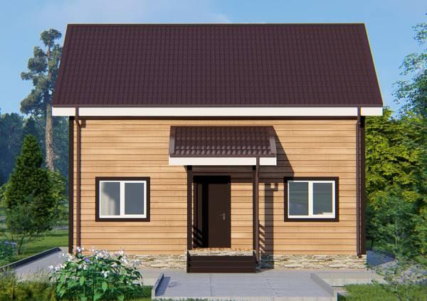 Вид на крыльцо дачного дома с мансардным этажом проект Перхушково