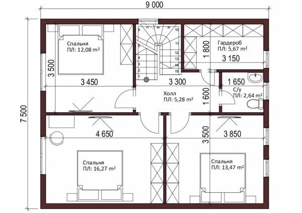Мансардный этаж дачного дома проект Перхушково