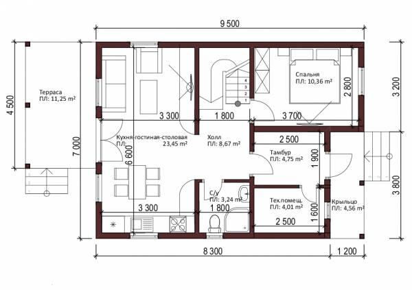 Планировка первого этажа проекта Лужники.