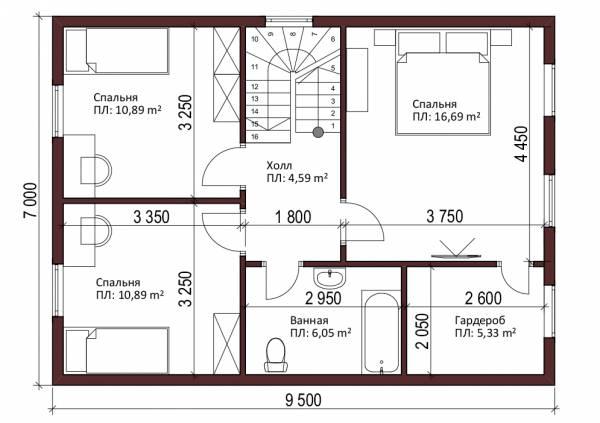 Планировка мансардного этажа дачного дома Лужники.