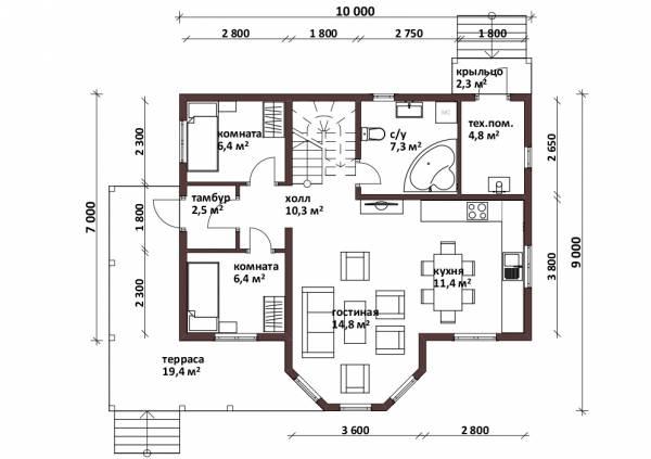 Планировка коттеджа с эркером проект Юрлово первый этаж.