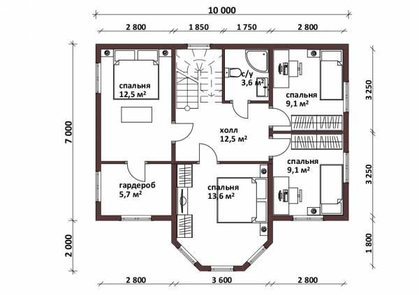 Планировка второго этажа с эркером в коттедже проект Юрлово