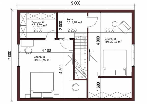Мансардный этаж дачного дома проект Бояркино типовой проект.