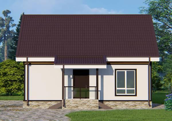 Вид на крыльцо дачного дома по типовому проекту Бояркино.