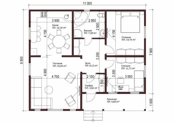 Планировка одноэтажного дачного дома с двускатной кровлей проект Воробьево.