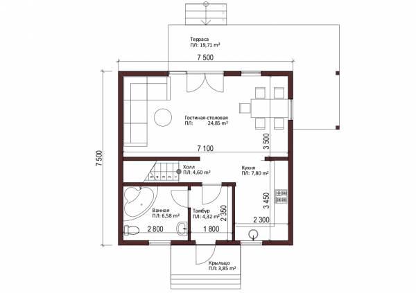 Планировка первого этажа типового проекта Березняки