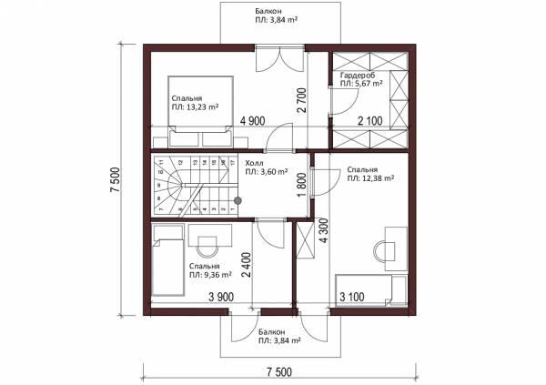 Планировка мансардного этажа типового проекта Березняки