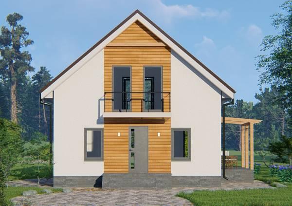 Фасад дачного дома Березняки по типовому проекту