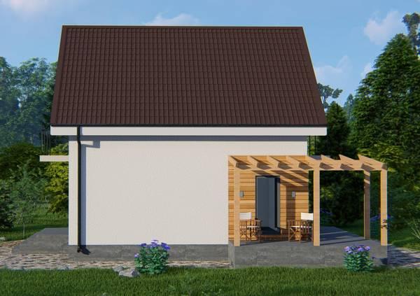Вид с боку на дачный дом по типовому проекту Березняки