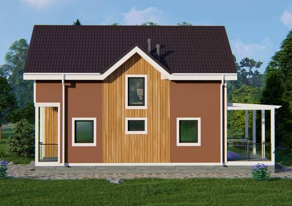Фасад типового проекта дачного дома Бирево