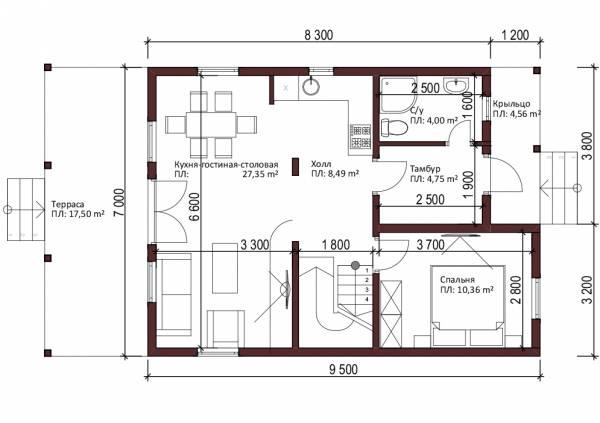 Планировка первого этажа типового проекта Бирево