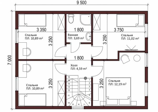 Планировка мансардного этажа типового проекта Бирево